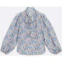 Zibi London Blue Floral Tie Neck Blouse New Look