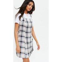 White Check Mini Pinafore Dress New Look