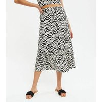 White Spot Button Tiered Midi Skirt New Look