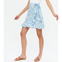 Blue Floral Frill Wrap Mini Skirt New Look