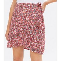 Pink Ditsy Floral Mini Wrap Skirt New Look