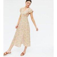 Pink Floral Frill Split Midi Dress New Look