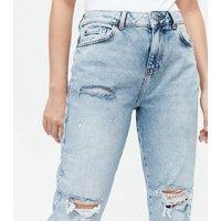 Petite Blue Ripped Crop High Waist Boyfriend Jeans New Look