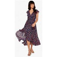 Apricot Navy Floral Frill Dip Hem Wrap Midi Dress New Look