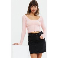 Pink Ribbed Exposed Seam Square Neck Crop Top New Look