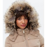 Camel Faux Fur Hood Fitted Puffer Jacket New Look