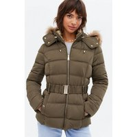 Khaki Faux Fur Hood Fitted Puffer Jacket New Look