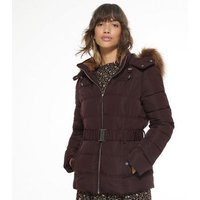 Burgundy Faux Fur Hood Fitted Puffer Jacket New Look