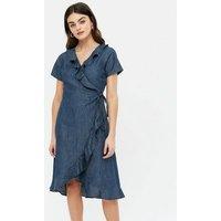 Yumi Blue Denim Ruffle Wrap Midi Dress New Look