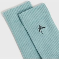 Men's Pale Blue Ribbed NLM Embroidered Socks New Look