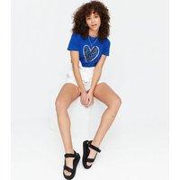 Blue Metallic Leopard Print Heart Logo T-Shirt New Look