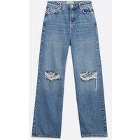 Petite Blue Ripped High Waist 90s Adalae Wide Leg Jeans New Look