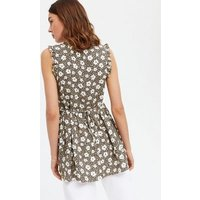 Brown Floral Frill Sleeveless Long Tunic Top New Look