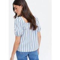 Blue Stripe Poplin Square Neck Top New Look