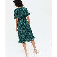 Yumi-Green-Metallic-Spot-Frill-Wrap-Dress-New-Look