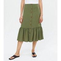 Khaki Button Tiered Midi Skirt New Look