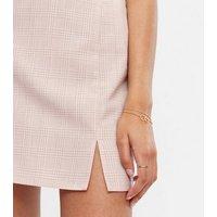 Mink Check High Waist Mini Skirt New Look