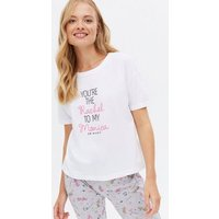 White Rachel Friends Logo Jogger Pyjama Set New Look