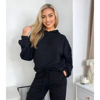 AX Paris Black Ruched Sleeve Hoodie and Jogger Lounge Set New Look