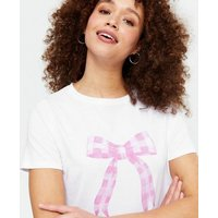 White Gingham Bow T-Shirt New Look