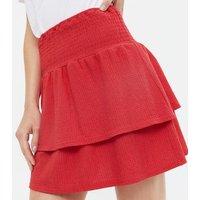 Red Shirred Ruffle Mini Skirt New Look