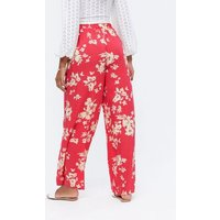 Red Floral Wide Leg Trousers New Look