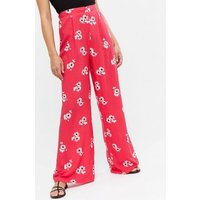 Red Floral High Waist Wide Leg Trousers New Look