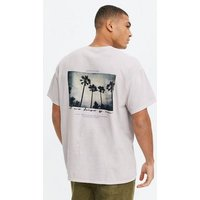 Men's Off White Overdyed Palm Tree Back Logo T-Shirt New Look