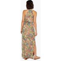 Apricot Pink Tropical Print Halter Maxi Dress New Look