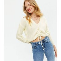 NA-KD White Ruched Tie front Jumper New Look