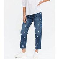Petite Blue Daisy High Waist Tori Mom Jeans New Look
