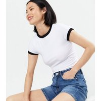 White Ringer T-Shirt New Look
