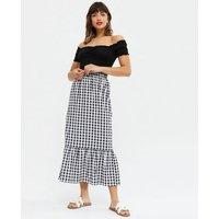 Black Gingham Tiered Midi Skirt New Look