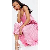 Bright Pink Satin Tie Strap Layered Pleated Midi Dress New Look