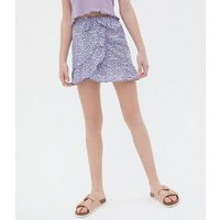 ONLY KIDS Blue Floral Ruffle Mini Wrap Skirt New Look