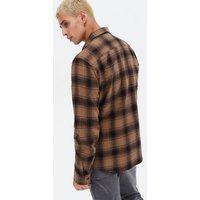 Men's Rust Check Long Sleeve Pocket Front Shirt New Look