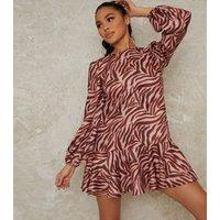 Chi Chi London Pale Pink Zebra Print Dress New Look