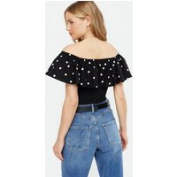 Black Spot Ribbed Frill Bardot Bodysuit New Look