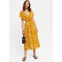Yellow Floral Shirred Wrap Midi Dress New Look