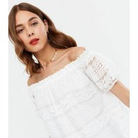 Off White Lace Bardot Top New Look