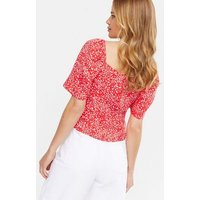 Red Animal Print Ruched Front Blouse New Look