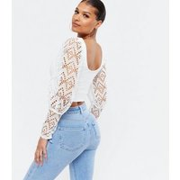White Broderie Puff Sleeve Crop Top New Look