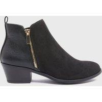 Black Suedette Faux Snake Block Heel Western Boots New Look Vegan