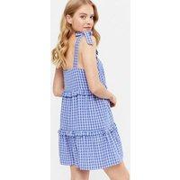 Blue Check Tie Strap Frill Tiered Mini Dress New Look