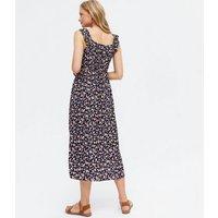 Black Ditsy Floral Ruffle Split Hem Midi Dress New Look
