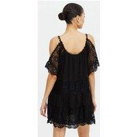 Blue Vanilla Black Lace Cold Shoulder Mini Dress New Look
