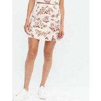 White Floral Linen Blend Split Mini Skirt New Look