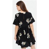 Maternity Black Daisy Mini Smock Dress New Look