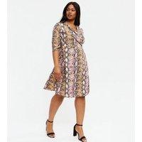 Blue Vanilla Curves Pink Snake Print Wrap Dress New Look