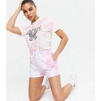 Pink Tie Dye Liberté Butterfly Logo T-Shirt New Look